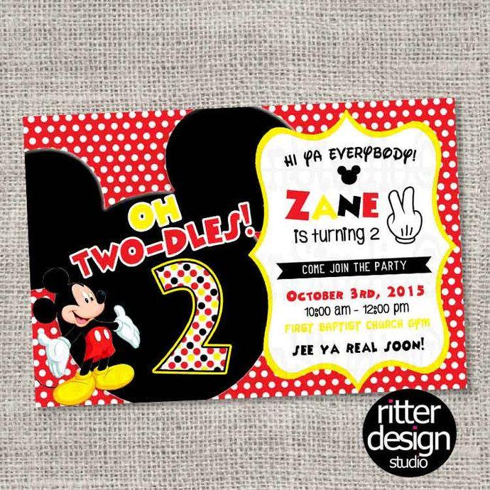 mickey mouse 2nd birthday invitation