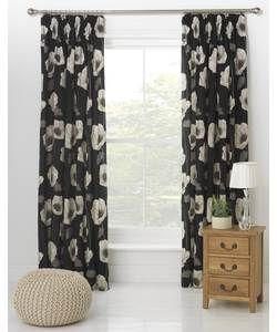 Ellisia Poppy Unlined Pencil Pleat Curtains 168x229cm- Black