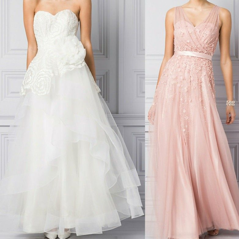 Beautiful Le Cau Wedding Dress With Large Flower Detail Pink Bridesmaid