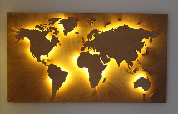 Reduced Handmade Back Lit Wooden World Map Vintage Style