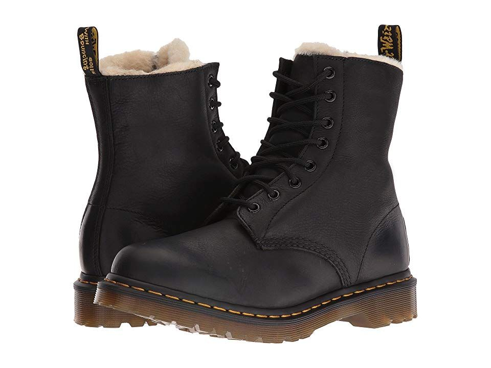 DR. MARTENS WOMEN'S Serena Burnished Leather Fur Lined Black