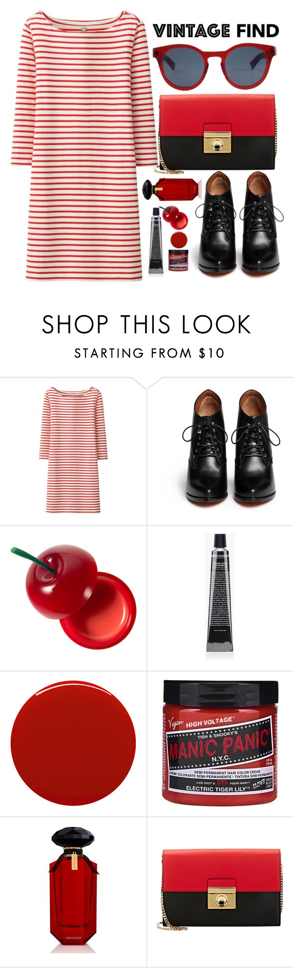 """Red Set"" by sweetnovember66 ❤ liked on Polyvore featuring Uniqlo, Givenchy, Tony Moly, Grown Alchemist, Smith & Cult, Victoria's Secret, Milly and Ahlem"