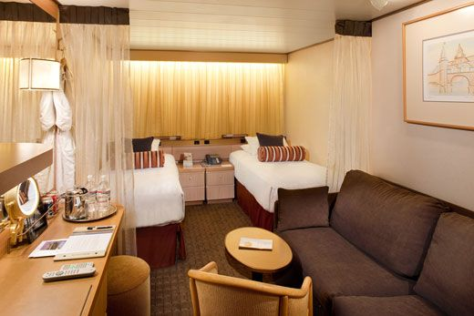 Relax in Holland America Line's Interior #Stateroom. Enjoy the luxurious Sealy premium beds, bath amenities from Elemis Aromapure and more. #Cruise #Travel #Luxury #Comfort