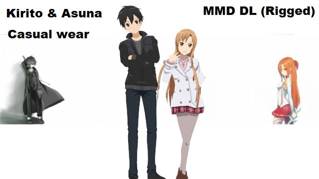 Kirito And Asuna DL MMD Casual Wear (RIGGED) by llske7chll | MMD