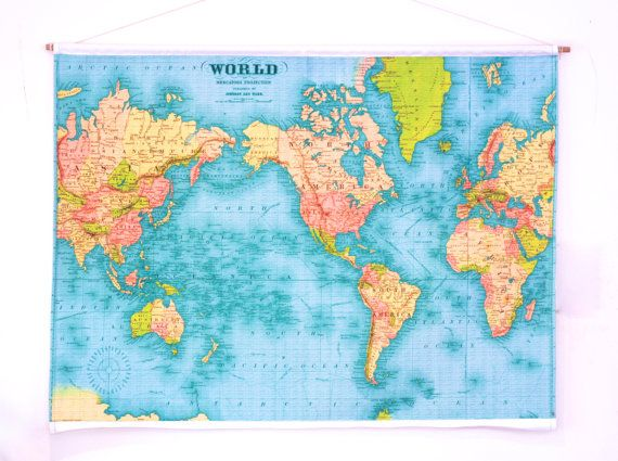 World map wall hanging education chart 86cm34inches x 61cm 24 vintage world map wall hanging 86cm34inches x by mybeardedpigeon gumiabroncs Gallery