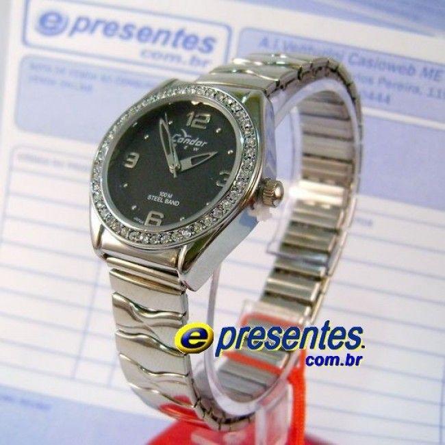 411e02f15f6 KF55052P Relógio Condor Pequeno Pulseira de Aço com Strass