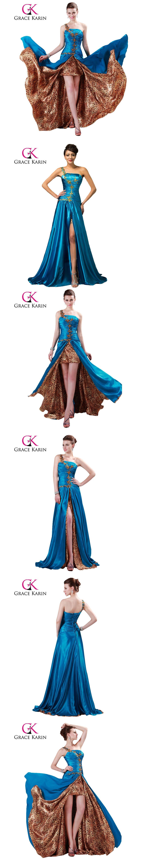 Grace karin prom dress one shoulder party gowns high split long