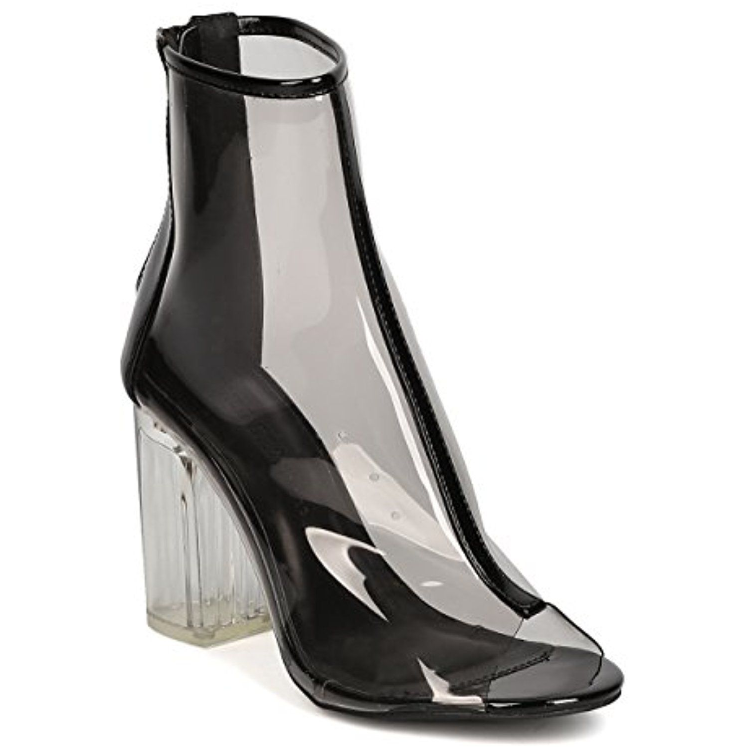 GB26 Women Mixed Media Peep Toe Lucite Block Heel Bootie