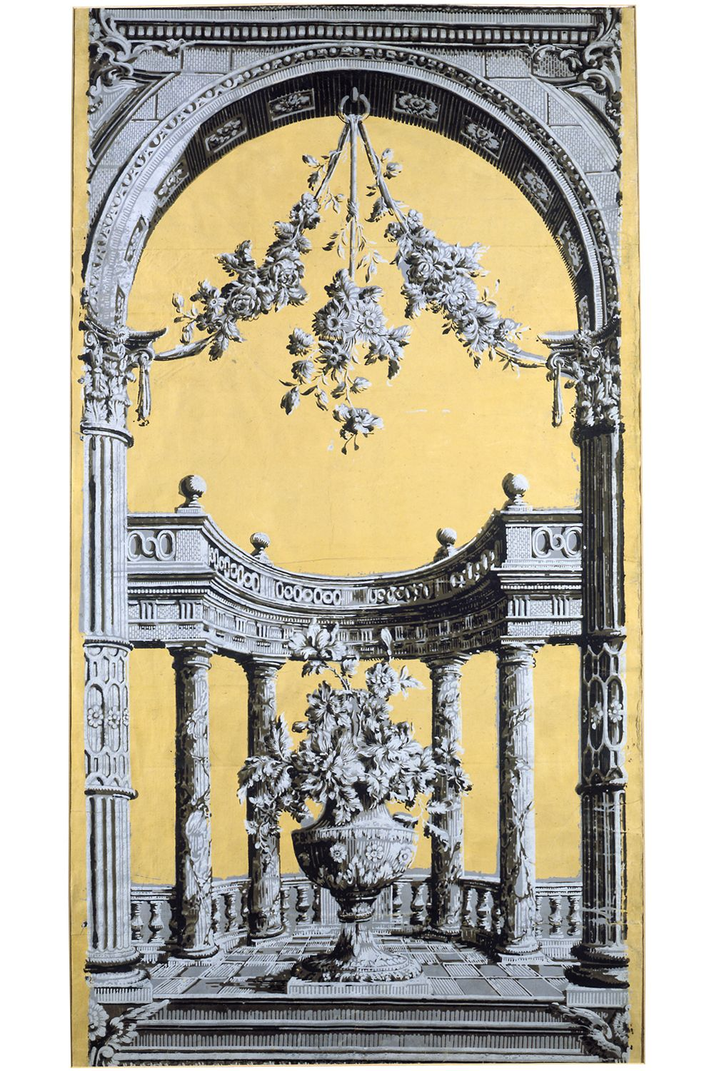 Portion of a classical \'pillar and arch\' wallpaper (detail) panel ...