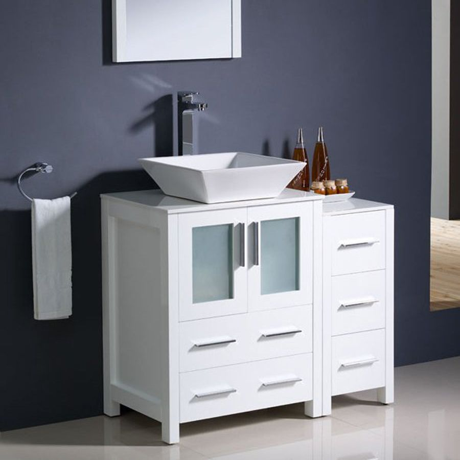Shop Fresca Bari White Vessel Single Sink Bathroom Vanity With Top Faucet Included Common Modern Bathroom Vanity Grey Modern Bathrooms White Vanity Bathroom