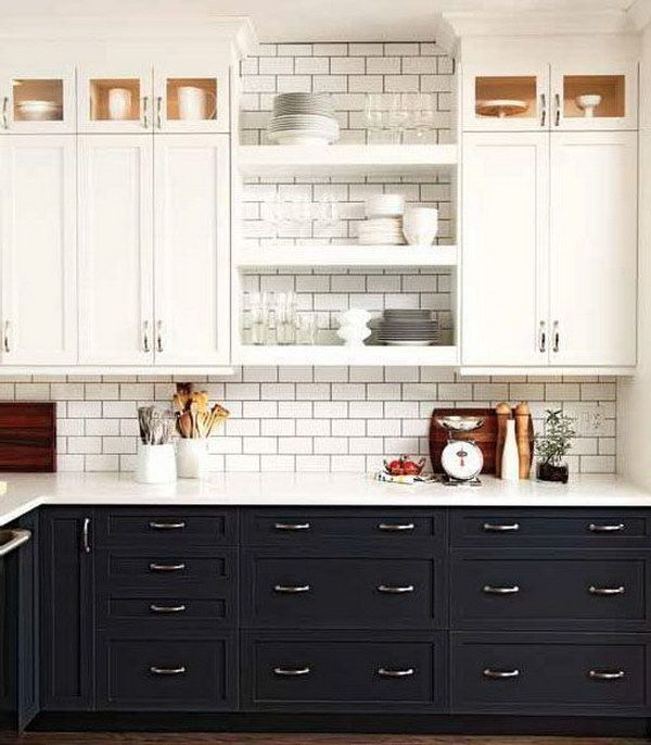 Whitewashed and Dark Gray Two Tone Kitchen Cabinets. | kitchen ...