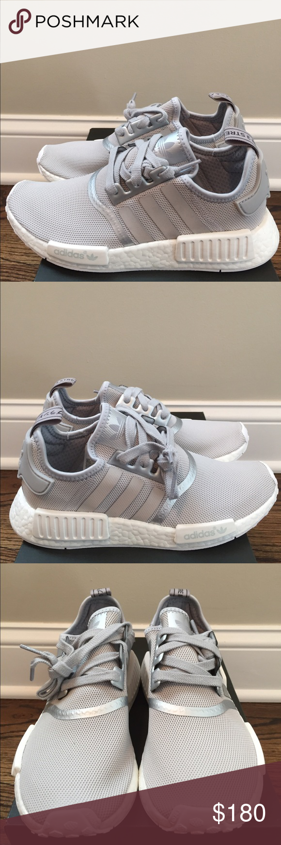 nuove adidas nmd r1 silver / via le donne bianche nwt pinterest