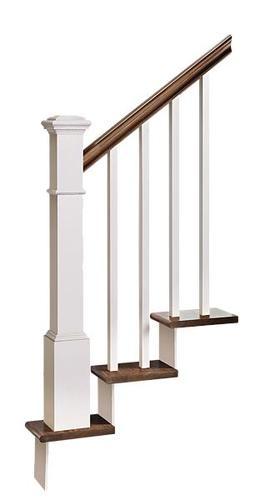 Mastercraft® 12 Step Craftsman Prefinished Gunstock Poplar White | Poplar Stair Treads Home Depot | Newel Cap | 000 0000L | Quarter Turn | Baluster | Rosette