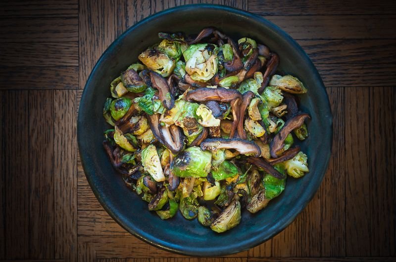 Pan Roasted Brussels Sprouts with Shiitakes and Smoked Paprika