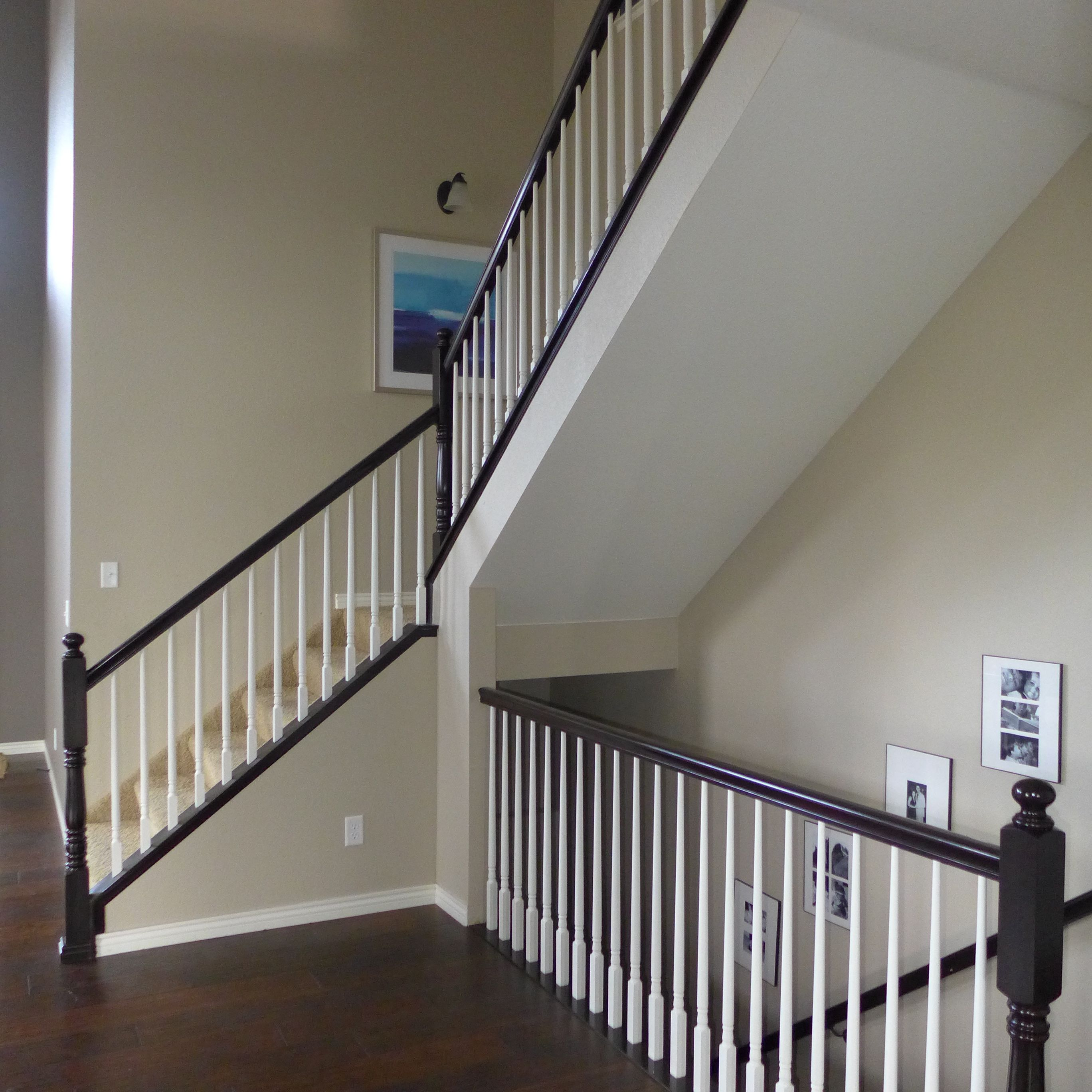 Stair Railing Paint Job Black And White Railing Espresso
