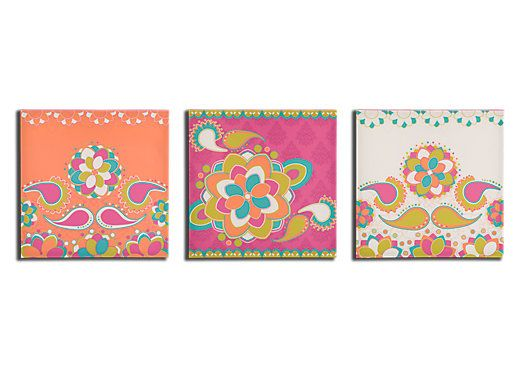 picture of Sally Anne Abstract Flower Pink 3 Pc Wall Art Set from Wall Decor Furniture