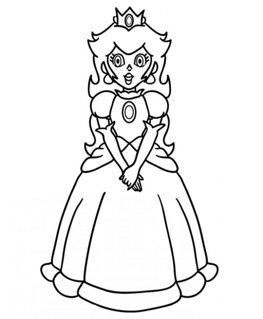 Free Princess Peach Coloring Pages For Kids Mario Coloring Pages