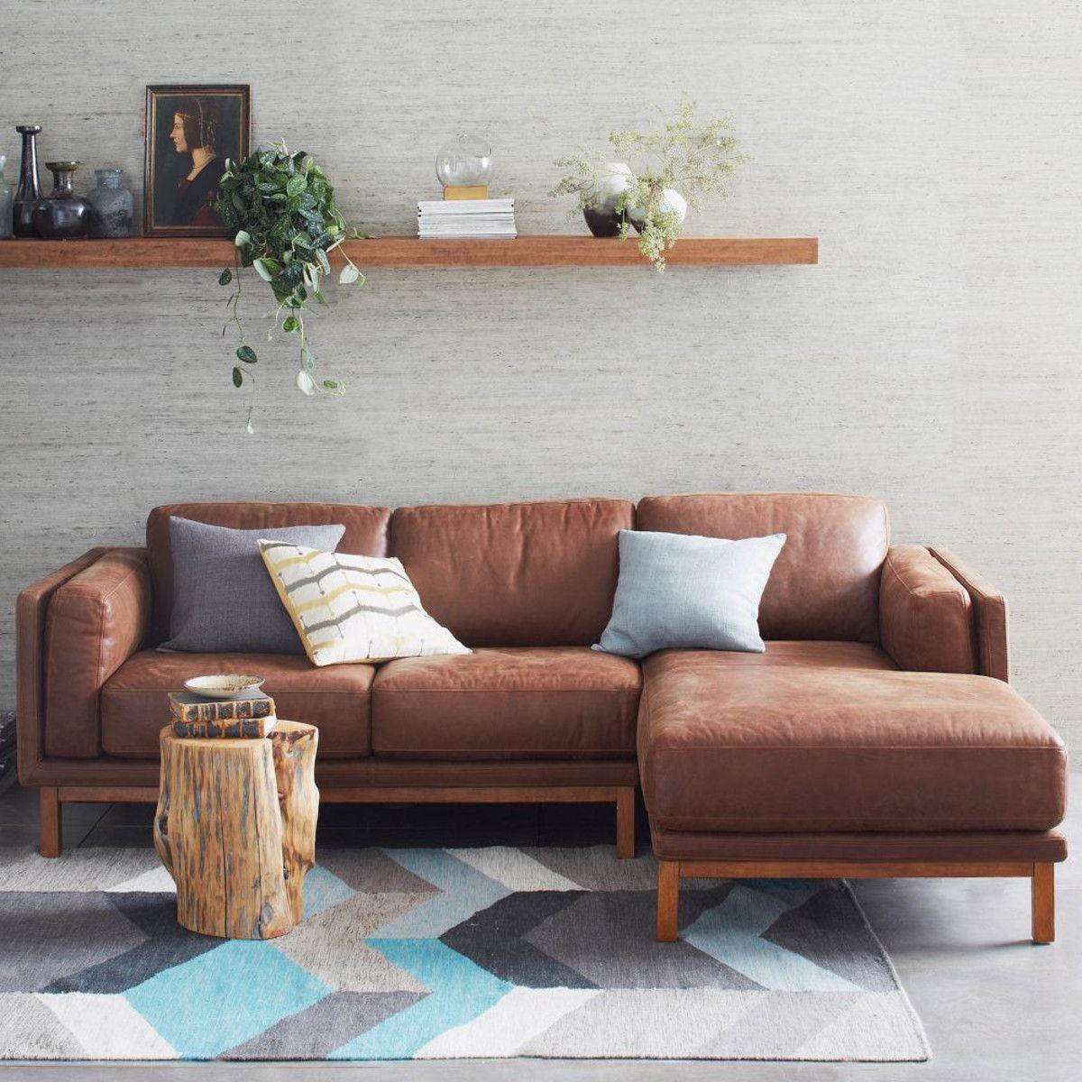 Cool Dekalb 2 Piece Premium Leather Sectional West Elm Theyellowbook Wood Chair Design Ideas Theyellowbookinfo