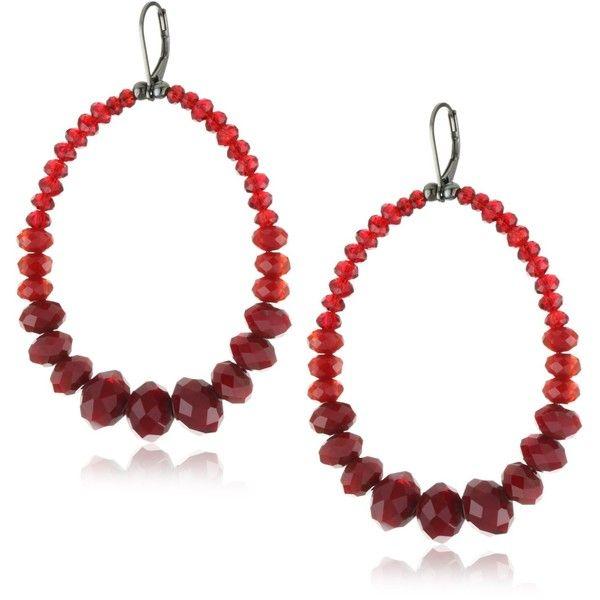 """Millianna """"Milli"""" Pomegranate Cut Crystal Oval Hoop Earrings ($95) ❤ liked on Polyvore"""
