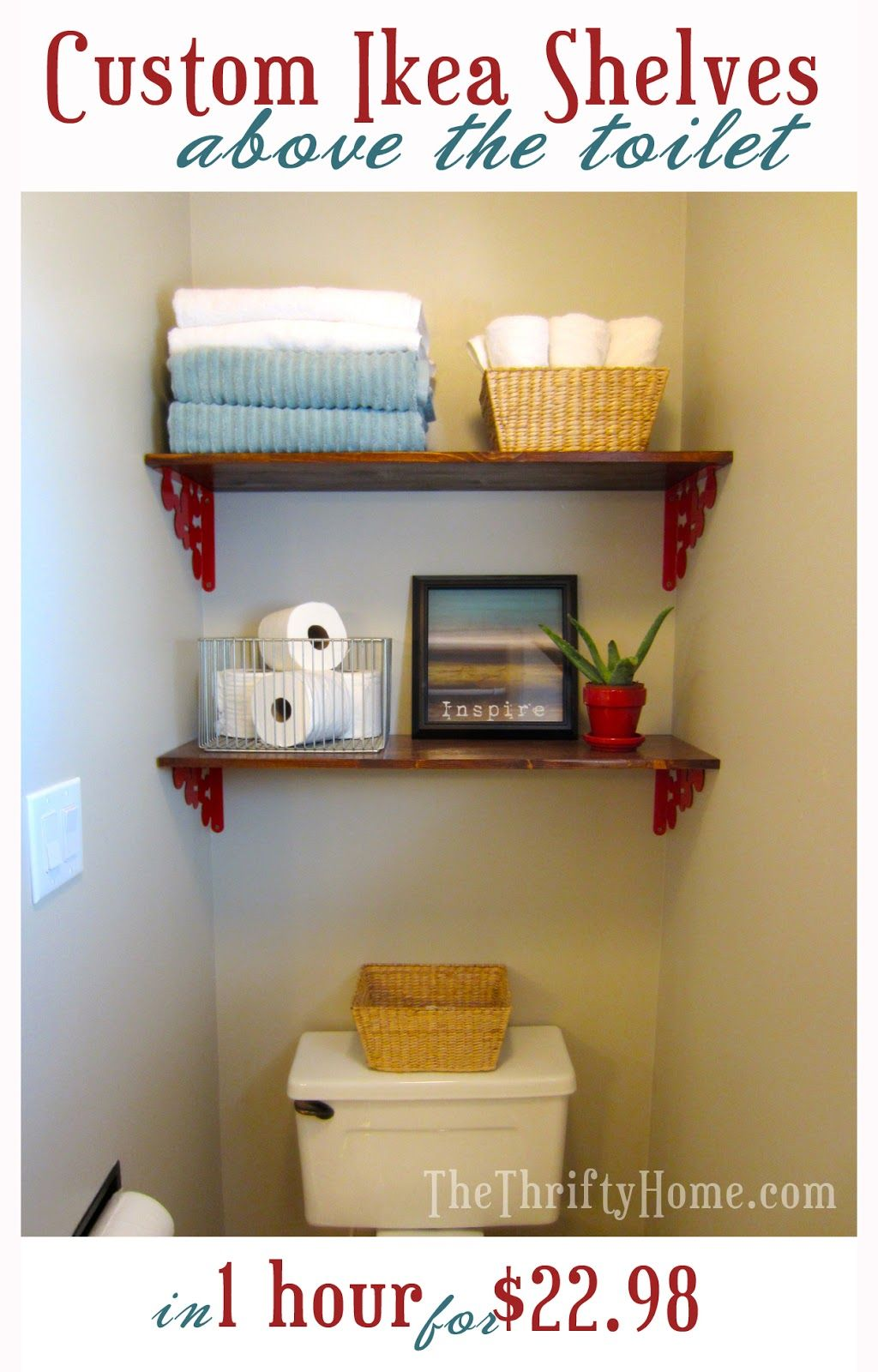 Quick And Easy Shelving Above The Toilet Ikea Shelves From Thethriftyhome