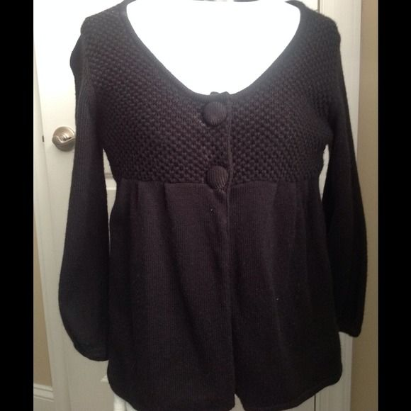 Two button open front black cardigan Waffle weave top panel. 100% acrylic. Ashley Judd Sweaters Cardigans