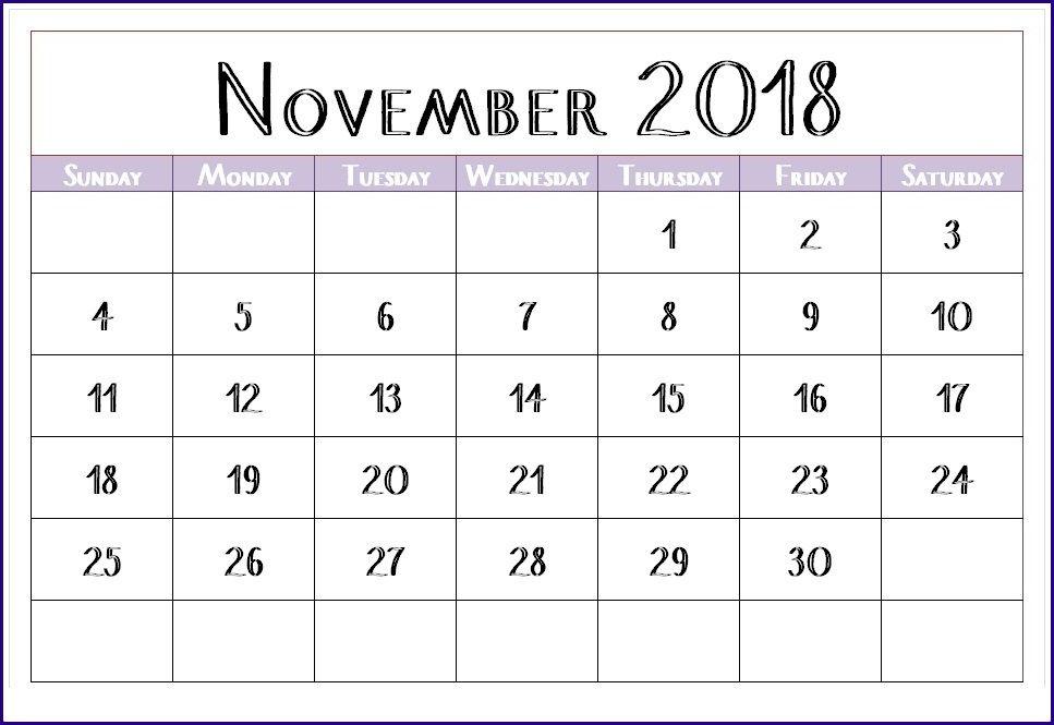 Cute November 2018 Calendar Printable Free Cutenovember2018calendar