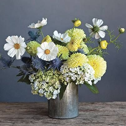 Thistles, dahlias, hydrangeas, and cosmos. So sweet!
