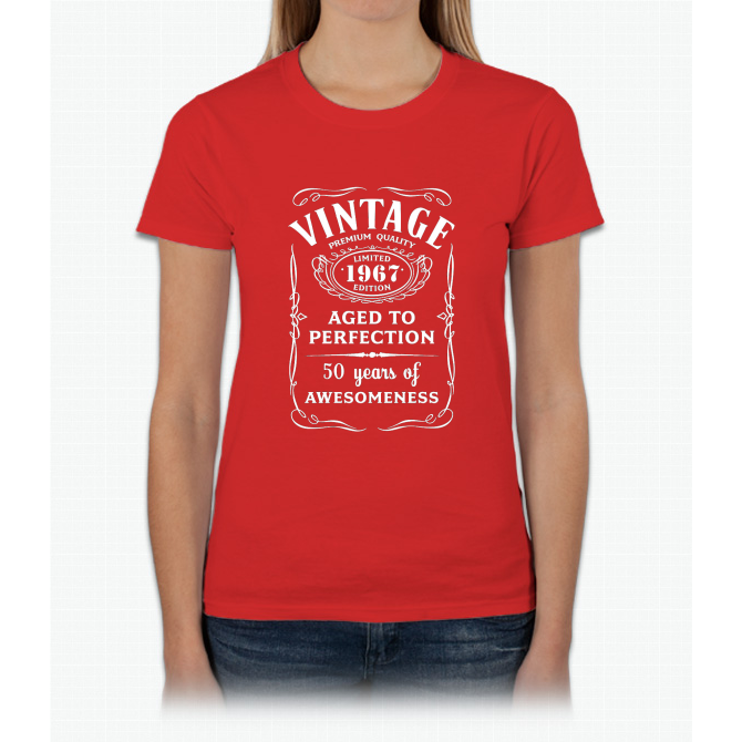 4552fd582 Vintage Limited 1967 Edition - 50th Birthday Gift Womens T-Shirt ...