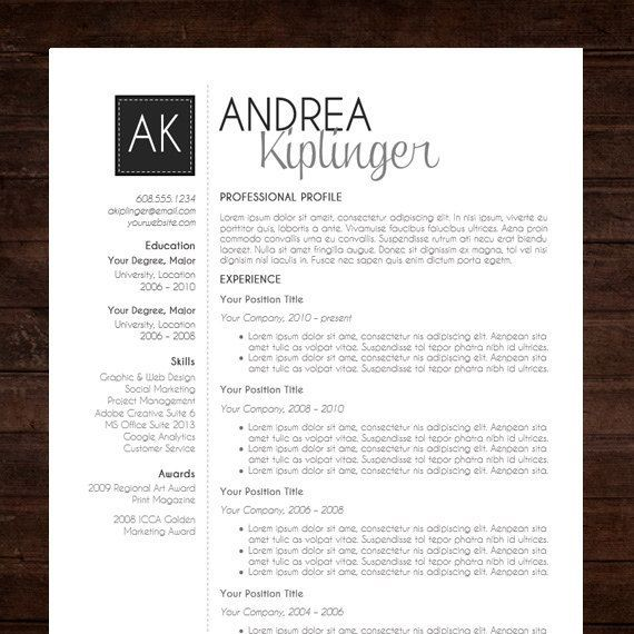 resume template cv template word for mac or pc professional cover letter creative modern black initials the andrea - Free Modern Resume Templates For Word