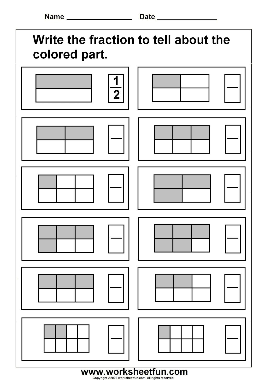 Third Grade Fraction Worksheets Fractions Worksheet 1 2 3 4