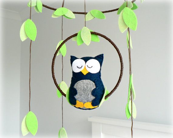 Owl mobile  woodland  Nursery baby mobile  You by LullabyMobiles