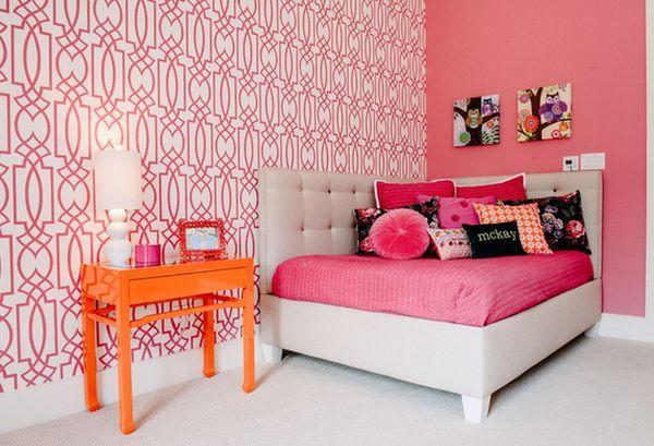 Corner Bed Headboard bold-bedroom-wall-accents-corner-bed