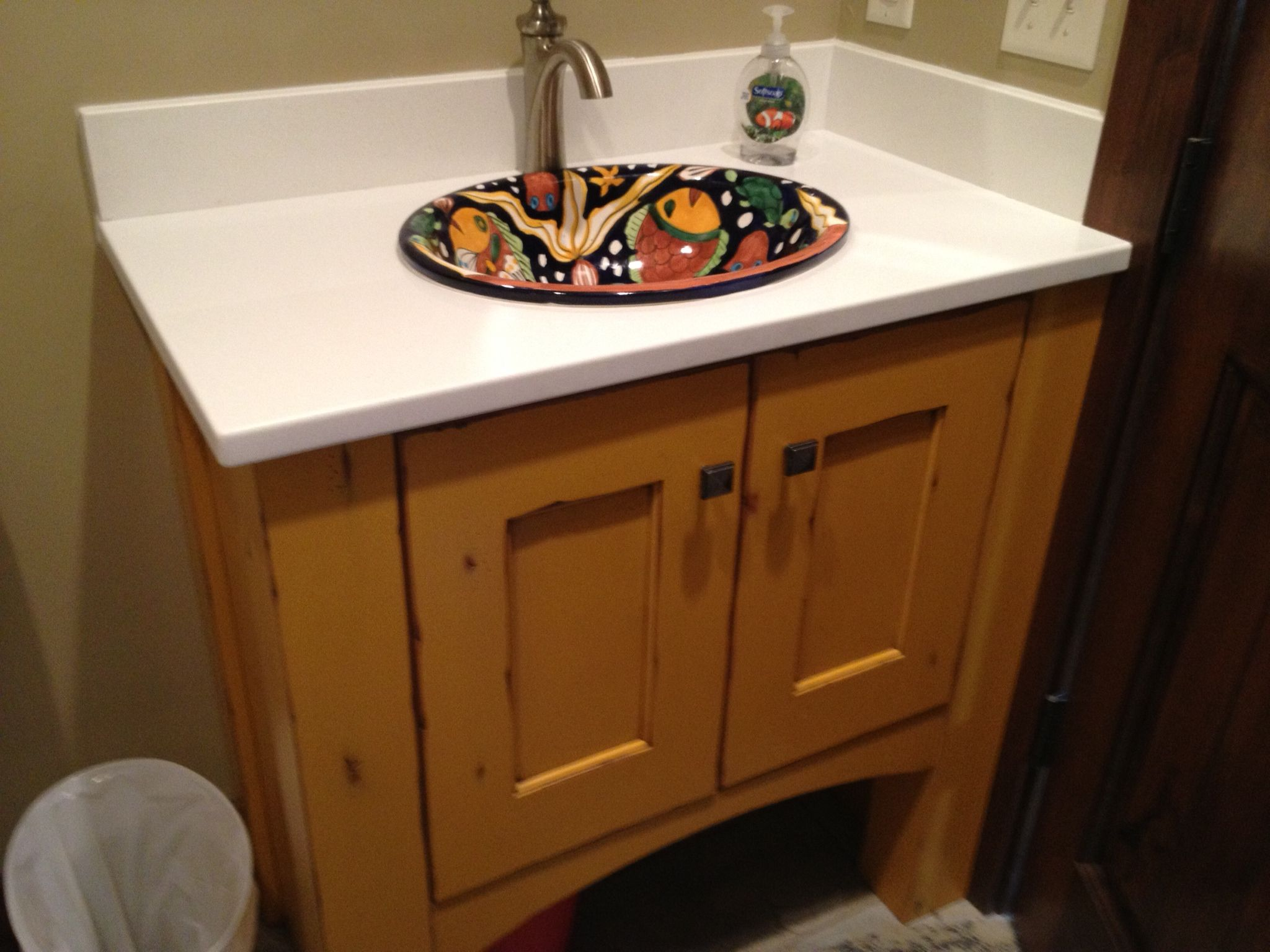 Decorated Mexican Sink Inlaid In Bathroom Cabinets Call Premier Cabinets  In Cache Valley Utah To