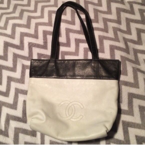 Authentic black and white Chanel handbag purse CC See pics 2 and 3 has a little mark CHANEL Bags Shoulder Bags
