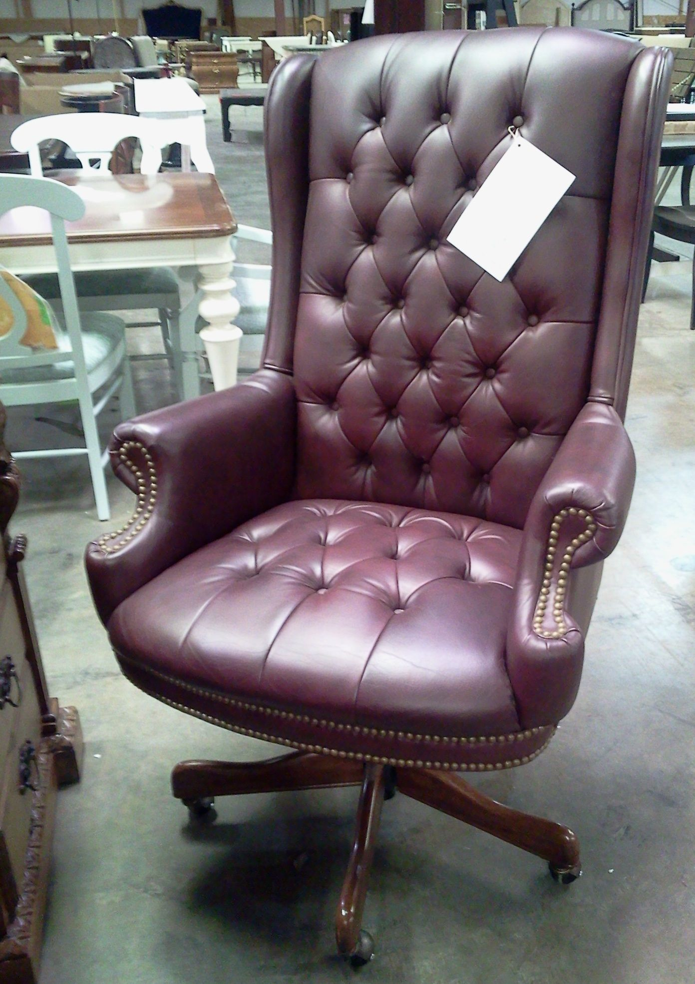 Best Hekman Office Chair Button Tufted Burgundy Leather Chair 400 x 300