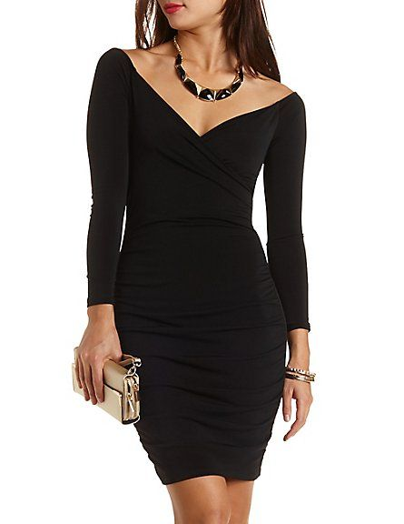 f5cbdcea1ed Ruched Off-the-Shoulder Bodycon Dress  Charlotte Russe  charlotterusse   charlottelook  offtheshoulder bodycon  dress