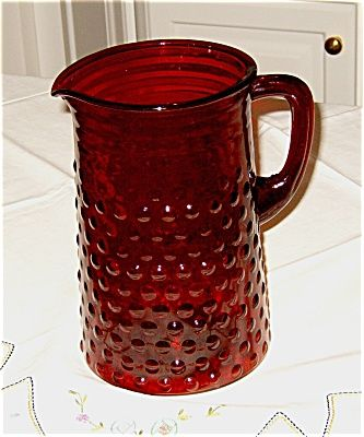Made by Fire King Anchor Hocking, the Royal Ruby Large Hobnail Pitcher.  Excellent condition.  A great addition to your collection or Holiday Table!