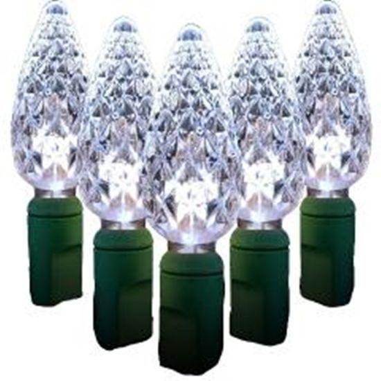 Faceted Light Strand Standard C6 LED White Lights 35 bulbs