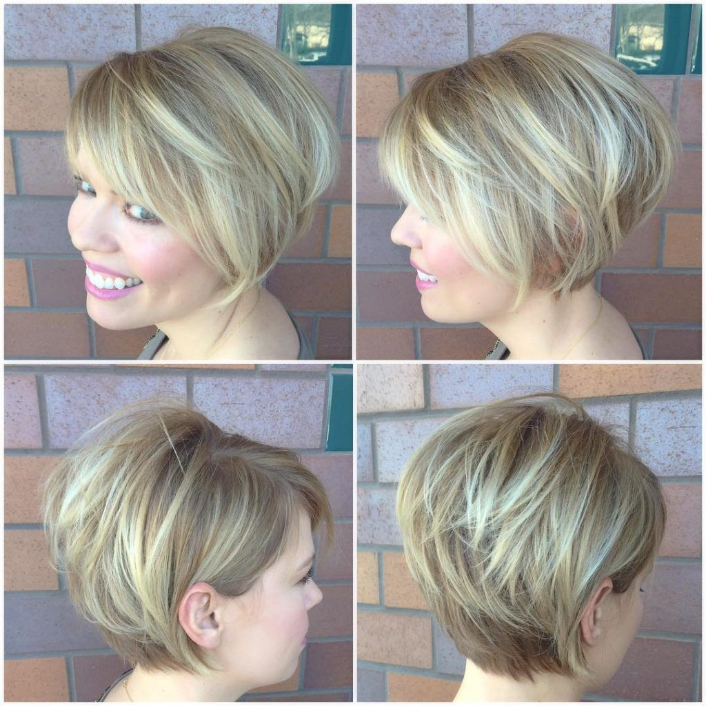 Blonde Stacked Bob With Side Swept Bangs And Highlights Short