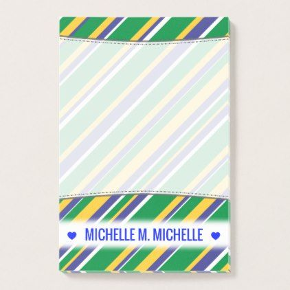 Flag of Brazil Inspired Colored Stripes Pattern Post-it Notes - sample notes