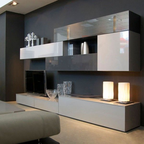 Mueble de dise o minimalista que combina grises - Mobiliario minimalista ...