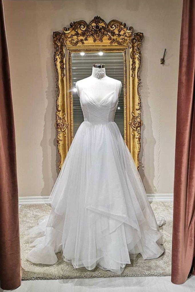 Photo of White v neck tulle long prom dress, white evening dress,AE24…