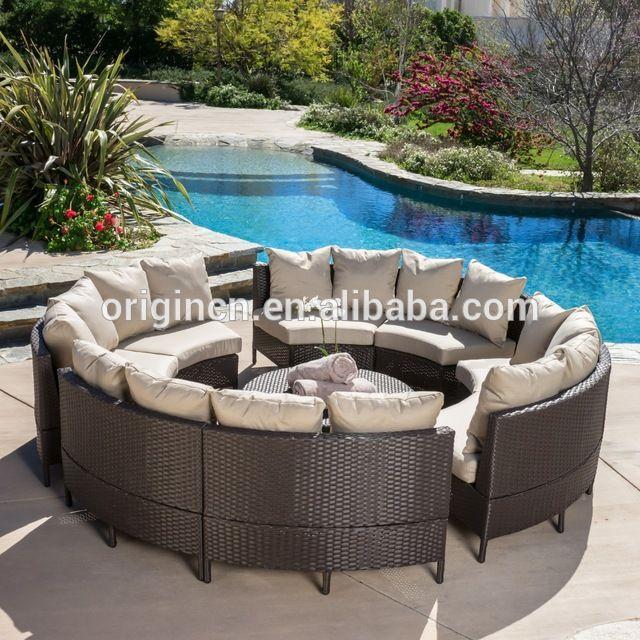 8 plazas círculo muebles de patio con mesa de cóctel ratán sofá cama ...