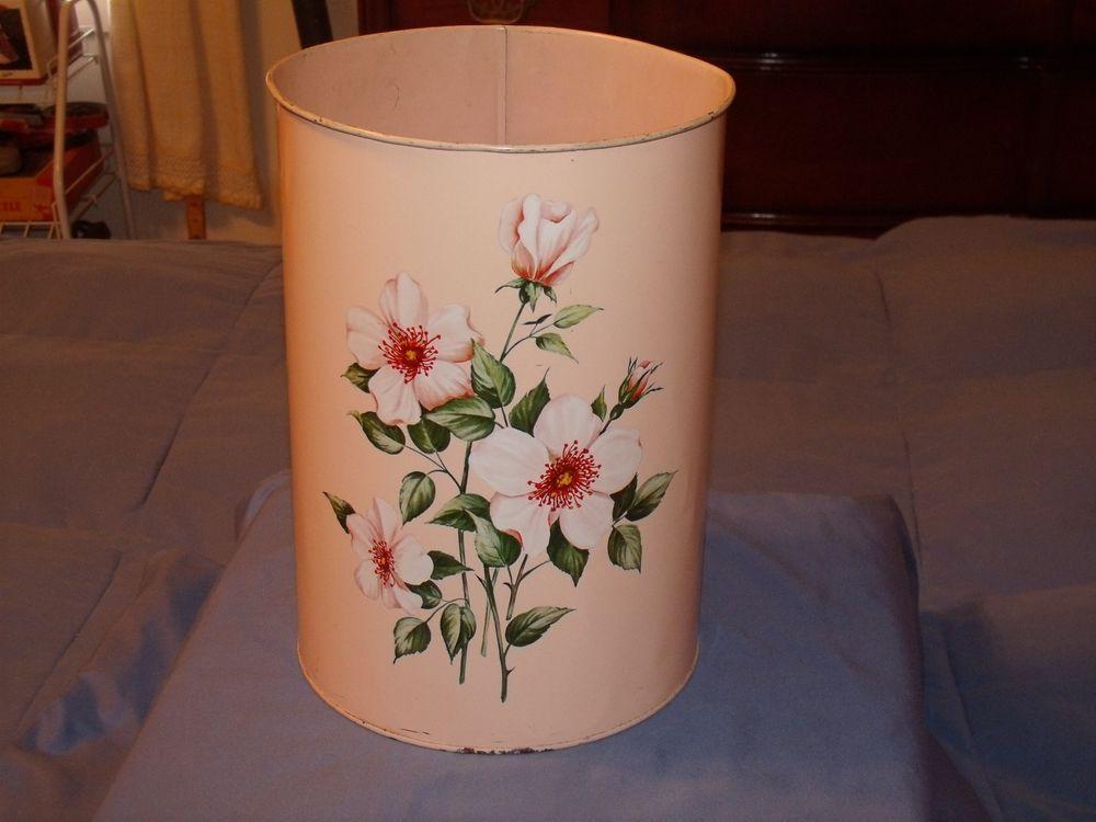 Vintage Decoware Metal Trash Can Waste Basket Pink Flowers