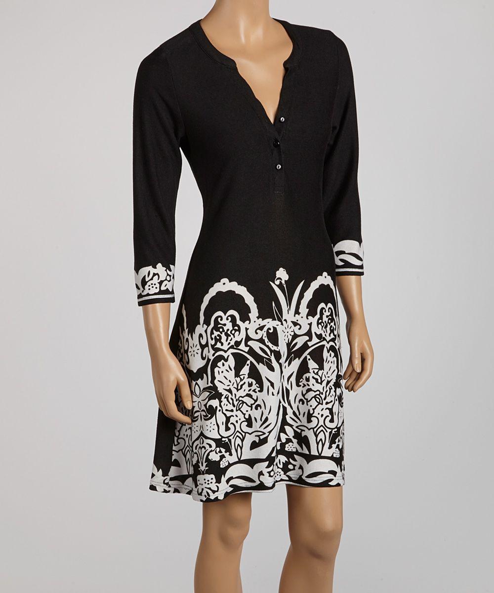 Black u white floral dress clothes etcetera etcetera