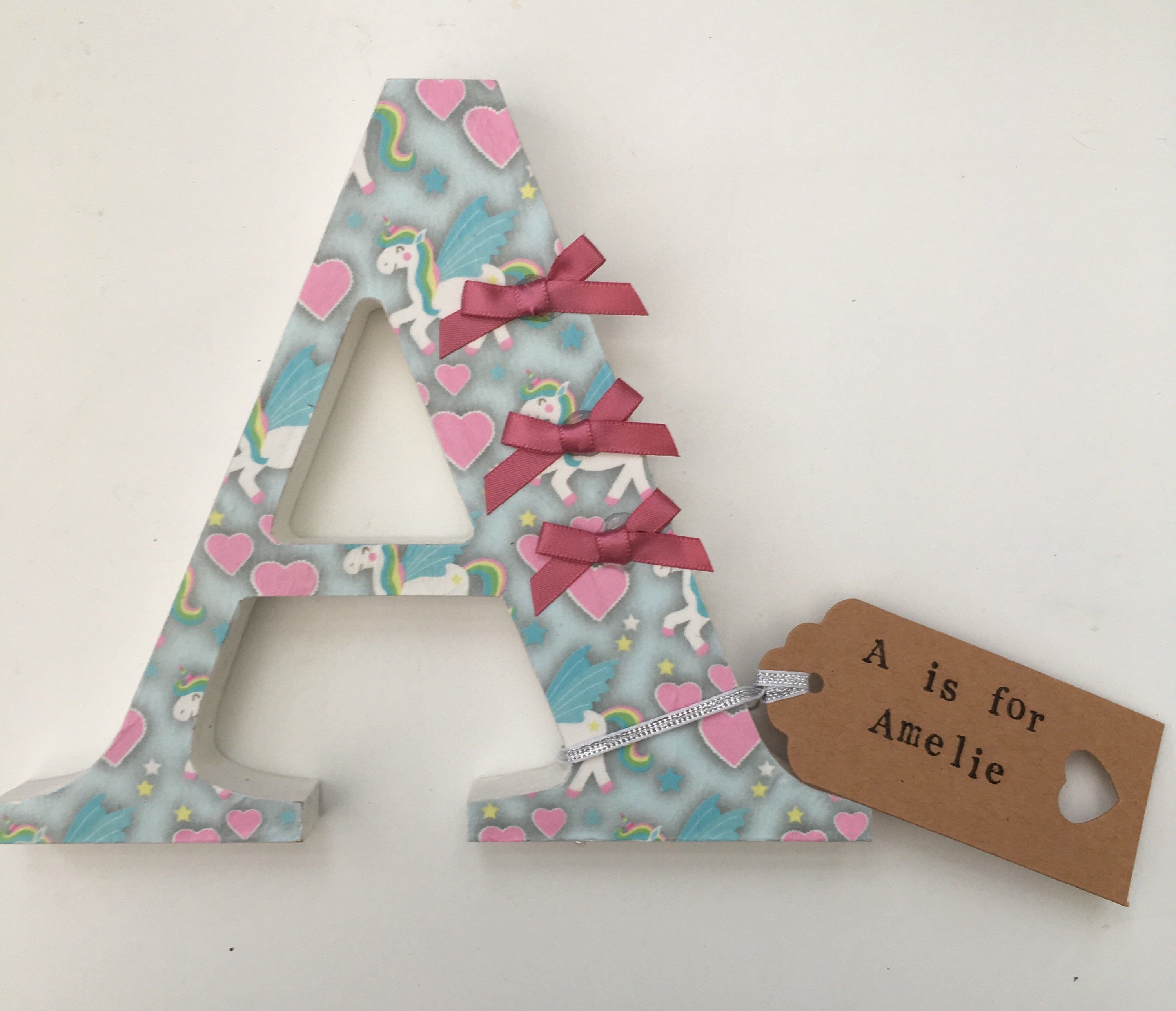 Personalised Wooden Nursery Letter Any Letter Freestanding 15cm Hand Painted And Decoupaged Letters Choose One