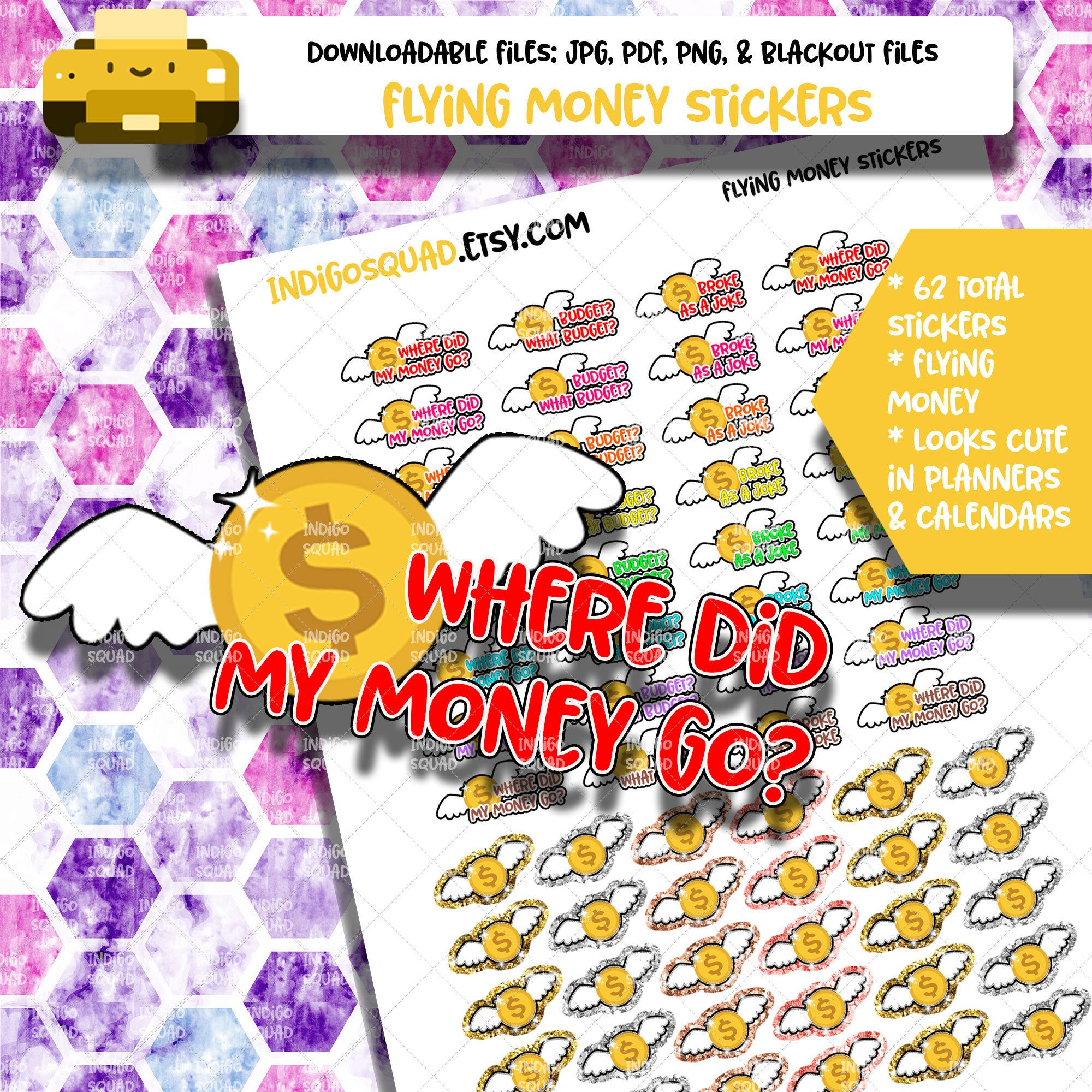 image regarding Asa Flight Planner Printable referred to as Traveling Cash Stickers - Printable Planner Stickers - Financial debt