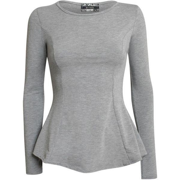 Pilot Tanisha ScoopNeckLong SleevePeplum Top (110 NOK) ❤ liked on Polyvore featuring tops, grey, scoop neck top, long sleeve peplum top, scoopneck top, gray top and long sleeve tops
