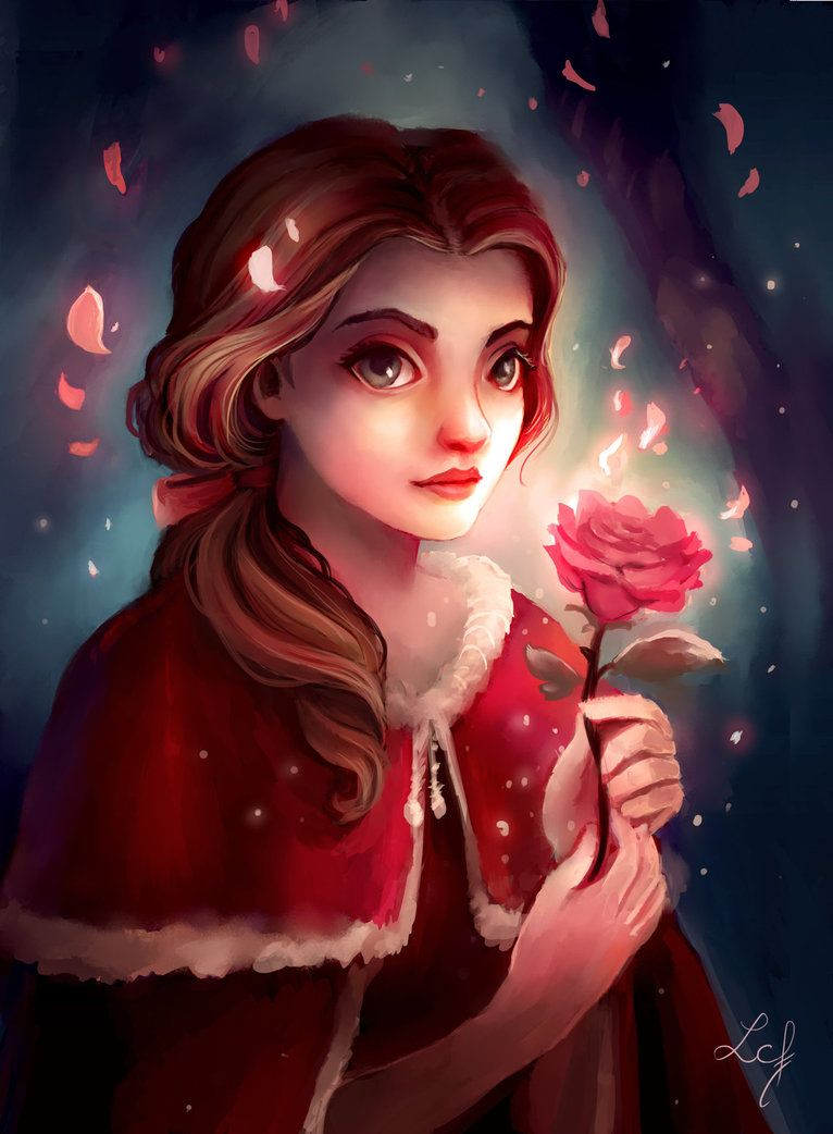 Belle And The Rose By Ludmila Cera Foce Disney Princess Art Disney Beauty And The Beast Belle Disney