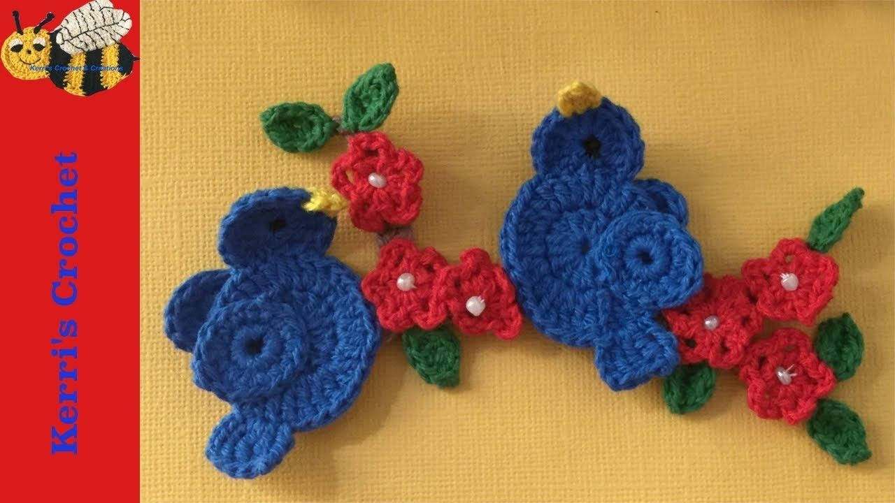 Crochet Pattern Birds Sitting On A Branch Flor De Croche